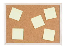 Blank stick notes on bulletin board texture or background Stock Image