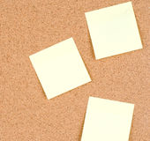 Blank stick notes on bulletin board texture or background Stock Photo
