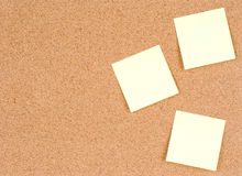 Blank stick notes on bulletin board texture or background. Cork board, used for background Royalty Free Stock Photo
