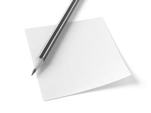 Blank sticker with pencil Royalty Free Stock Photo
