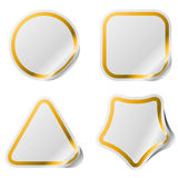 Blank stickers with golden frame. Stock Photos