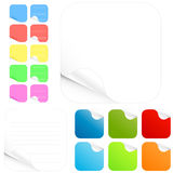 Blank stickers and paper pads in different colors. Vector illustration of paper stickers and pads in different colors with shadowed curl. Two main versions with Stock Images