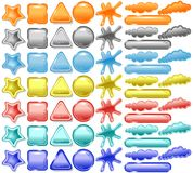 Blank stickers, web buttons and speech bubbles stock illustration