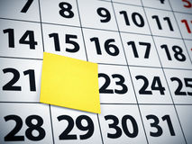 Blank sticky note on a calendar Royalty Free Stock Image