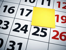 Blank sticky note on a calendar Royalty Free Stock Photo