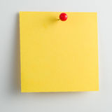 Blank sticky note with pushpin isolated on white background Royalty Free Stock Photo