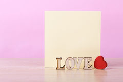 Blank Sticky Note With Red Heart Royalty Free Stock Photo
