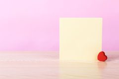 Blank Sticky Note With Red Heart Royalty Free Stock Photography