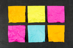 Blank Sticky Notes. Blank crumpled colorful sticky notes Stock Photos