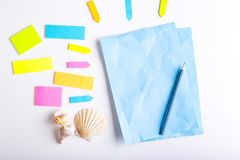 Sticky notes. Blank sticky notes with different colors and shapes stock images