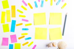 Sticky notes. Blank sticky notes with different colors and shapes stock photos