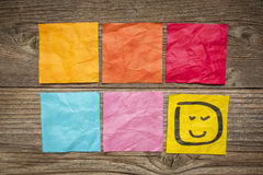Blank sticky notes with smiley Royalty Free Stock Images