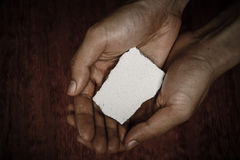 Blank Stone Block In Hands Stock Images