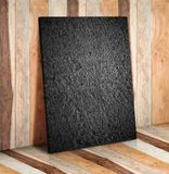 Blank stone block on wooden plank wall and floor,Mock up to disp Stock Image