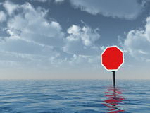 Blank stop sign. At water landscape - 3d illustration Stock Photos