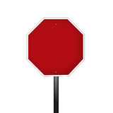Blank Stop Sign. An isolated blank graphic stop sign with clipping path against a white background Stock Photo
