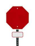 Blank Stop Sign with Small Sign Below Stock Photo