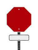 Blank Stop Sign with White/Black Sign Below Royalty Free Stock Images