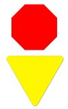 Blank Stop & Yield Sign. Blank Stop and Yield Sign - Red and Yellow Stock Photos