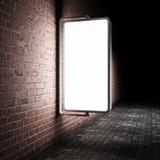 Blank street advertising billboard. On brick wall at night Royalty Free Illustration