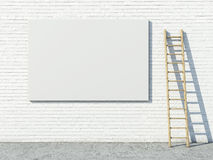 Blank street advertising billboard on brick wall Stock Image