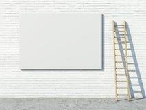 Blank street advertising billboard on brick wall. 3d render Stock Image