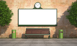 Blank street billboard on grunge wall Royalty Free Stock Photos