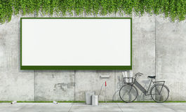 Blank street billboard on grunge wall. Blank street billboard on grunge concrete wall and tools to put up posters - 3d rendering Royalty Free Stock Photo