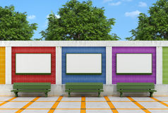 Blank street billboard oncolorful brick wall Stock Image