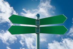 Blank street sign post with 4 signs. Customizable green street sign on a blue cloudy sky royalty free stock images
