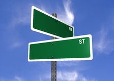 Blank street signs. A set of blank street crossing signs ready to be customized Royalty Free Illustration
