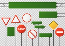 Blank street traffic and road signs vector set isolated. Collection of sign road, signpost and guidepost for transport illustration Stock Photography