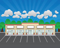 Blank Strip Mall. A vector illustration of a strip mall with empty signs and room for a header if needed Royalty Free Stock Photo
