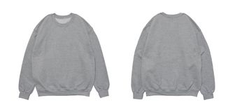 Blank sweatshirt color grey template front and back view. On white background stock photography
