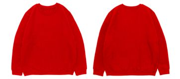 Blank sweatshirt color red template front and back view. On white background stock photography
