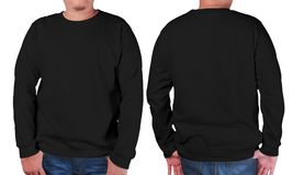 Black sweater long sleeved shirt mockup template Royalty Free Stock Images