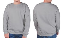 Grey sweater long sleeved shirt mockup template Stock Photography