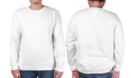 White sweater long sleeved shirt mockup template Royalty Free Stock Image