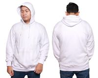 Asian male model wear plain white long sleeved sweater sweatshir. Blank sweatshirt mock up, front, and back view, isolated on white. Asian male model wear plain Royalty Free Stock Image