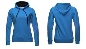 Blank sweatshirt template, front and back view, isolated on white background with clipping path. Blue hoodie mock-up. clothes hoody sweater design presentation Royalty Free Stock Photo