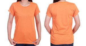 Blank t-shiet set (front, back) with female Stock Photography