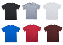 Blank T Shirt 6 color template. On white background stock photography