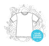 Blank t-shirt design concept. Hand drawn style Royalty Free Stock Images