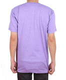 Blank t-shirt on man (back side). Blank violet t-shirt on man (back side) isolated on white background Royalty Free Stock Images
