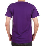 Blank t-shirt on man (back side). Blank violet t-shirt on man (back side) isolated on white background Stock Photos