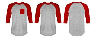 Blank t shirt raglan 3/4 sleeves pack front and back view with heather grey and red maroon color isolated on white background. Blank t shirt raglan 3/4 sleeves stock photography
