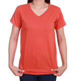 Blank t-shirt on woman stock images