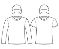 Blank t-shirts and caps template Royalty Free Stock Image