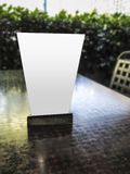 Blank table tent on cafe table Royalty Free Stock Photography