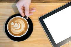 Blank tablet and coffee. Blank tablet useful for put some text Royalty Free Stock Images